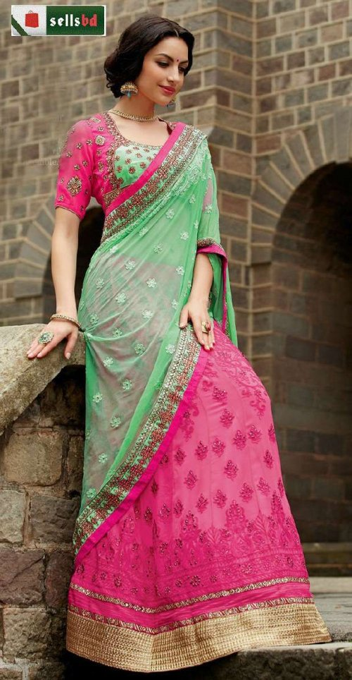 GREEN WITH PINK GEORGETTE AND NET SAREE SHAREE