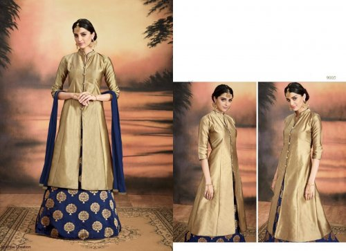 golden and navy blue un-stitched Scart model salwar kameez suit