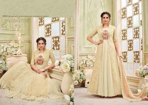 un-stitched Sajawat Nivati Georgette with Embroidery designer anarkali salwar suit