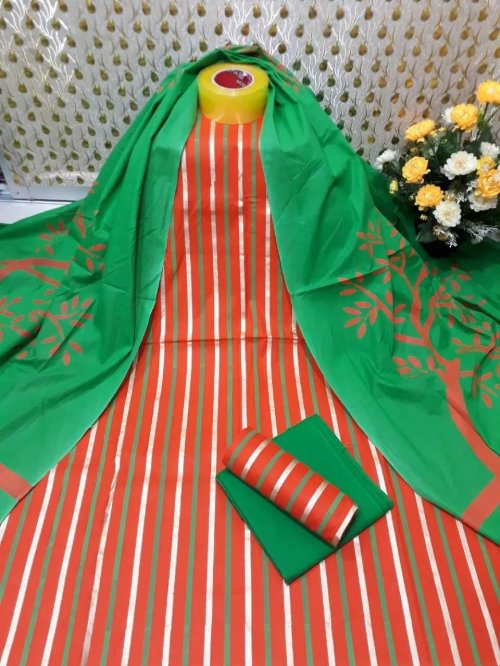 Latest Orange and Green Skin Printed 3 pieces Salwar Kameez for Women