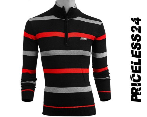 Priceless Zipper Sweater Red Ash and Black Men's Winter collection
