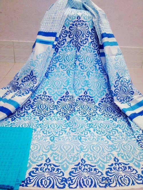 unstiched block printed cotton replica three pcs salwar kameez seblock-539