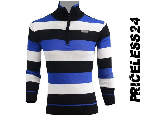 Priceless Zipper Sweater Blue White and Black Men's Winter collection