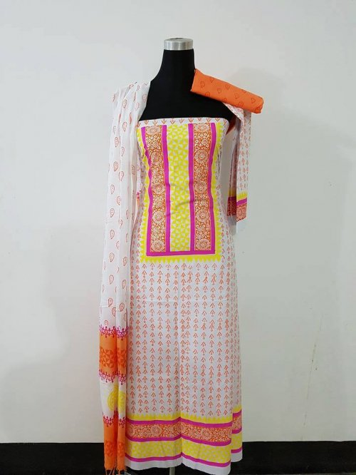 unstiched block printed cotton replica three pcs salwar kameez seblock-553
