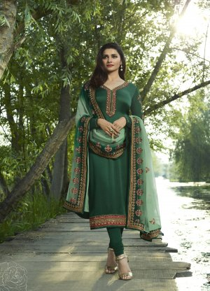 Un-stitched Prachi Desai dark green georgette with embroidery salwar kameez
