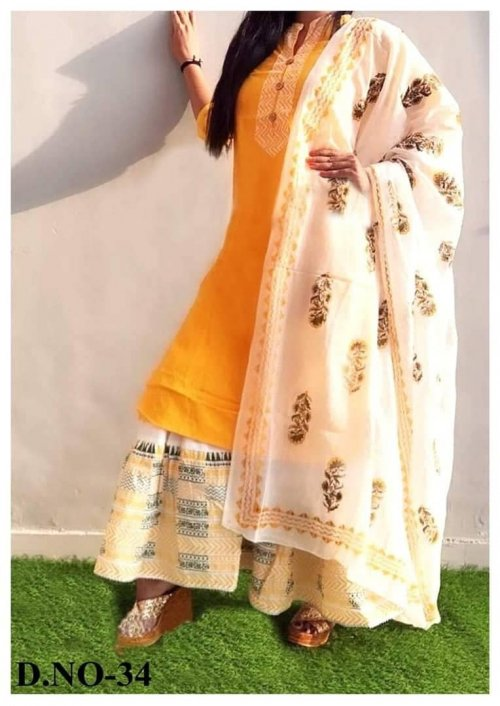 Latest Orange Block Printed 3 pieces Salwar Kameez for Women