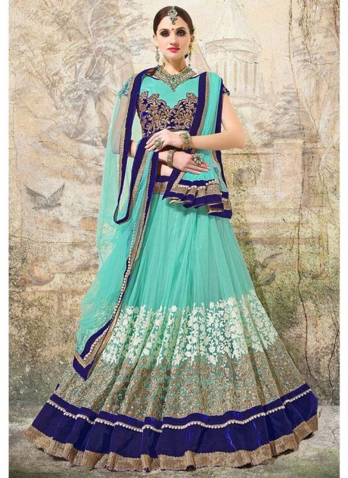 SEA GREEN COLOR embroidery WORK PARTYWEAR LEHENGA CHOLI WITH DUPTTA 24d