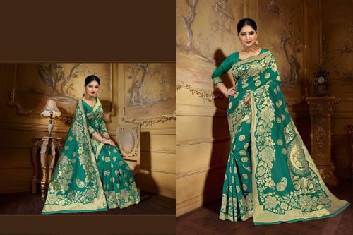 Paste and Golden Embroidery Work Katan Saree For Women