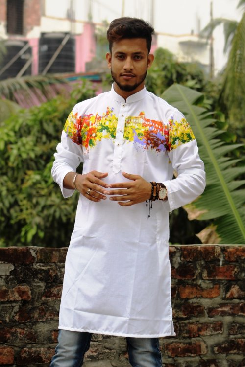 white Cotton Casual Long Panjabi for Men