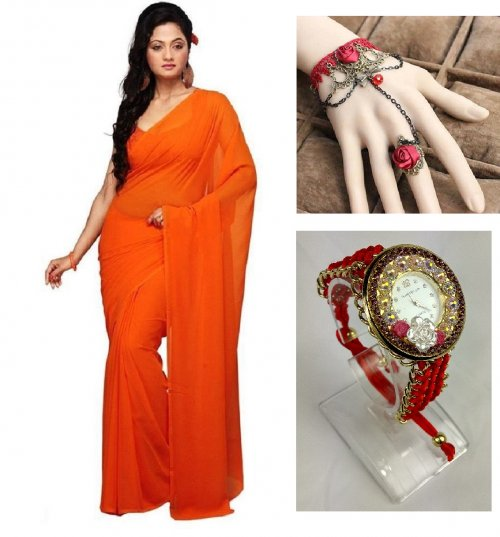 Saree with adjustable bracelet finger ring and watch 3 in 1
