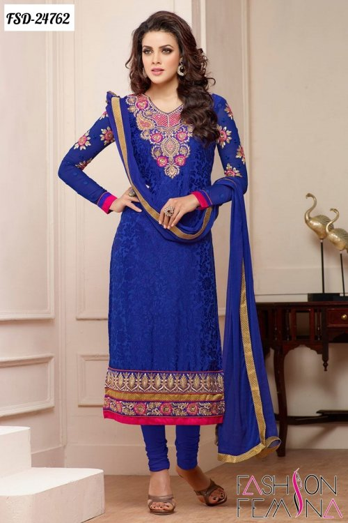 unstiched block printed cotton replica three pcs salwar kameez seblock-409