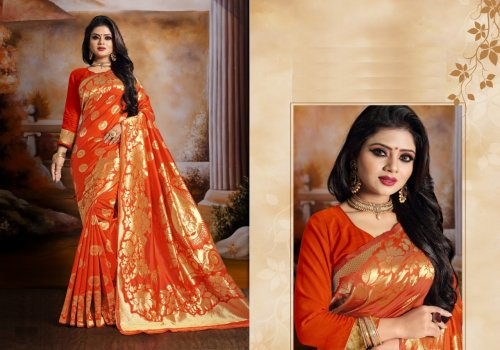 Orange and Golden Embroidery Work Katan Saree For Women