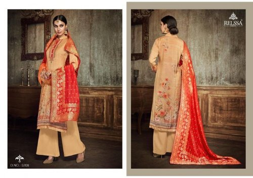 Relssa Kum Kum - Peach Cream With Red Orna - 5208