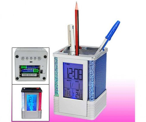 Digital Desktop Clock Pen Holder