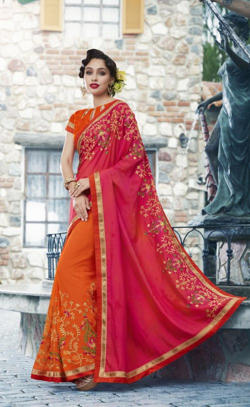 Georgette and embroidery work saree nsc-714