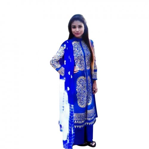 unstiched block printed cotton replica three pcs salwar kameez seblock-406