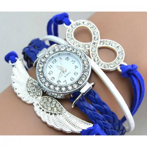 Bird Wings Shape Women's Wrist Watch Blue Color