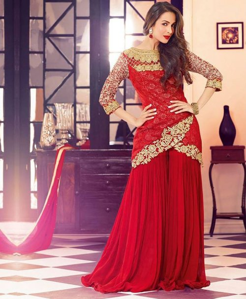 VIVID RED SOFT GEORGETTE WITH EMBROIDERY UNSTITCHED KAMEEZ SUIT