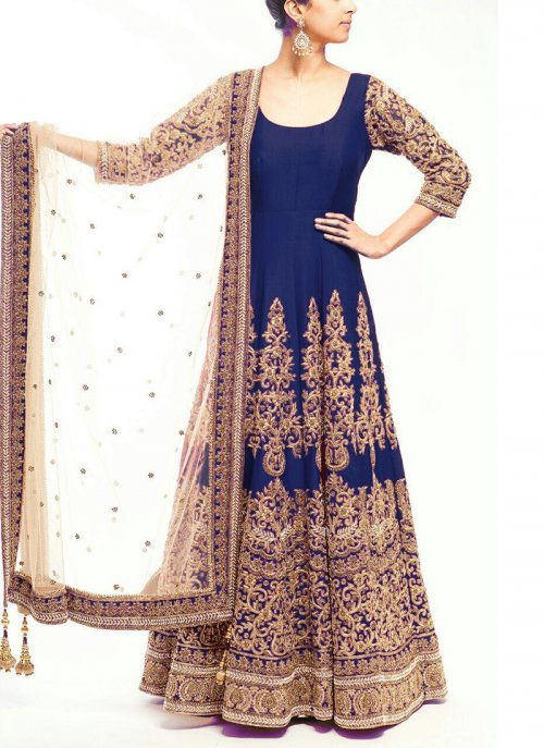 Navy Blue Party Wear Georgette Designer Embroidery Long Salwar Suit