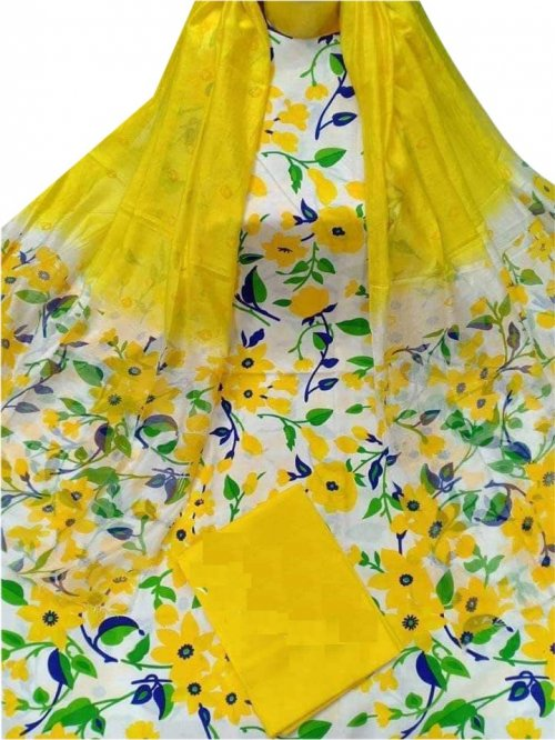 Latest Designed White And Yellow High Quality Cotton Salwar Kameez for Women