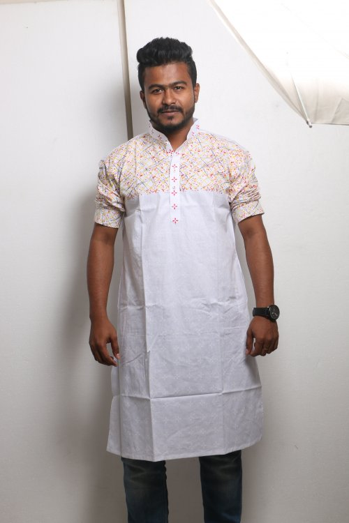 white Cotton Casual Long Panjabi for Men mfz-108