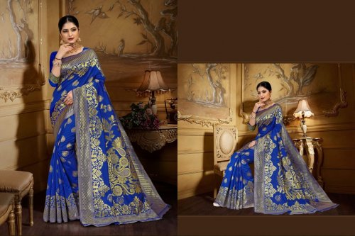Blue and Golden Embroidery Work Katan Saree For Women