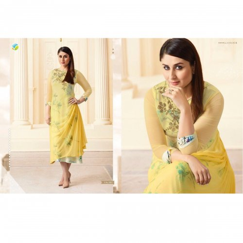 Double Layered Kurti in Yellow KURTI-33812
