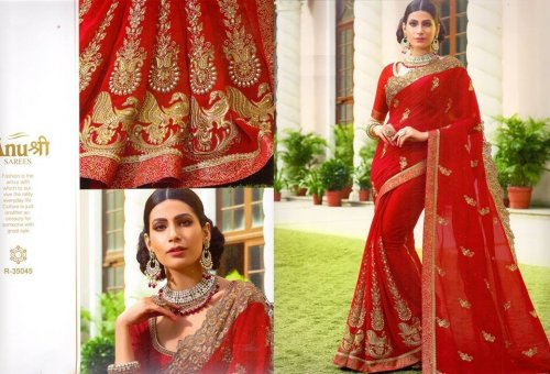 Georgette and embroidery work saree ssc-727