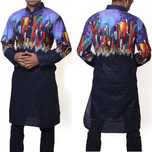 Cotton Semi Long Black and Multi color Panjabi for men