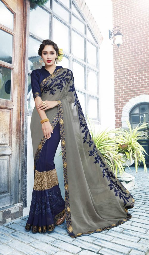 Georgette and embroidery work saree nsc-720