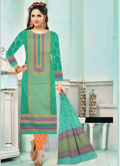 Unstiched block printed cotton replica salwar kameez seblock-625