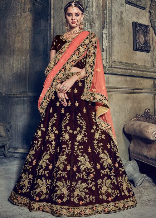 FASHIONABLE coffee COLOR DESIGNER with embroidery LEHENGA CHOLI surbhi 035