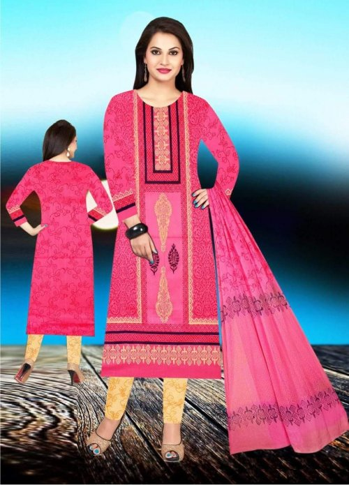 Unstiched block printed cotton replica salwar kameez seblock-626