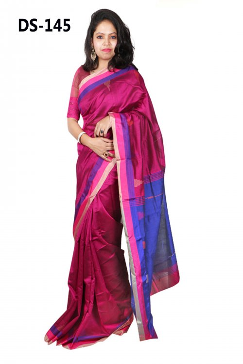Maroon color Tempol Tosor Silk saree with blue anchol for women eid collection