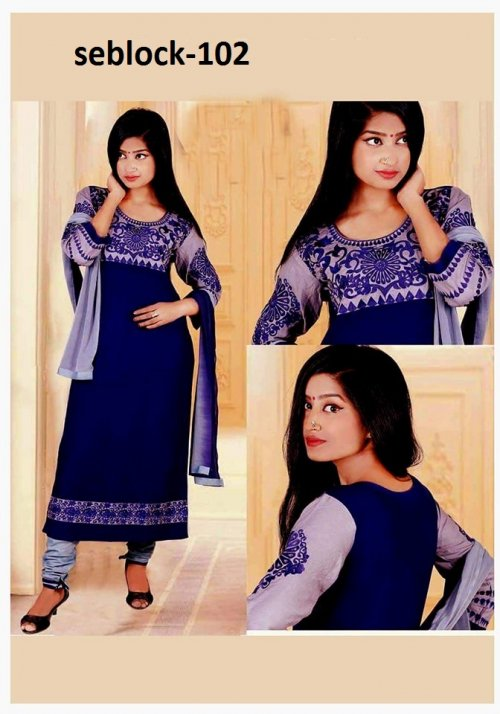 Unstitched Cotton Block Printed Salowar Kameez seblock-102