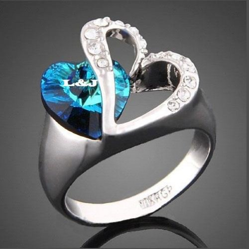 Feelings of Love Blue Heart Valentine's Day Ring
