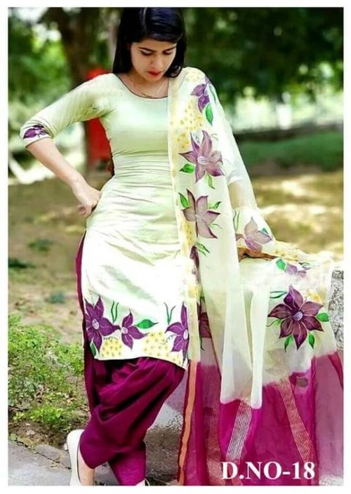 Latest Off White block Printed Salwar Kameez for Women-free size