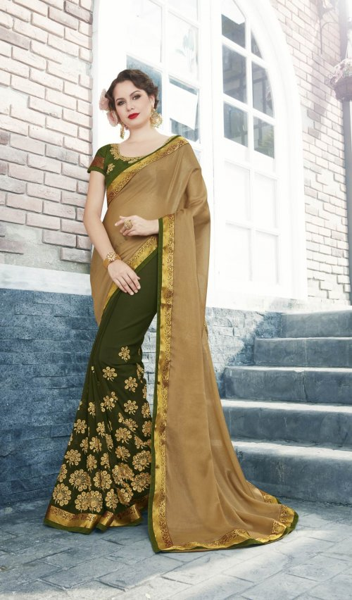 Georgette and embroidery work saree nsc-710
