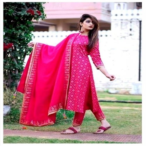 unstitched block printed cotton salwar kameez For women
