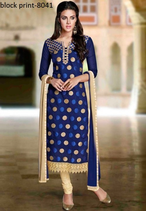 Unstiched block printed cotton replica salwar kameez seblock-8041