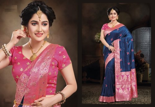 Blue and Pink Embroidery Work Katan Saree For Women