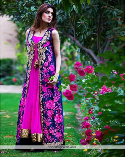 Un-stitched georgette with embroidery salwar kameez FR-114