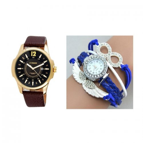 CURREN gents ladies watch combo