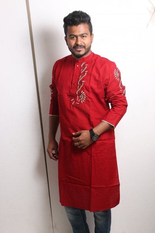 red Cotton Casual Long Panjabi for Men mfz-110