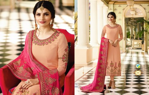 Light Pink And Pink Embroidered Georgette salwar suit
