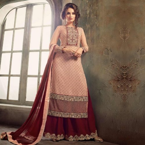 PEACH & MAROON GEORGETTE PARTY WEAR PALAZZO SUIT