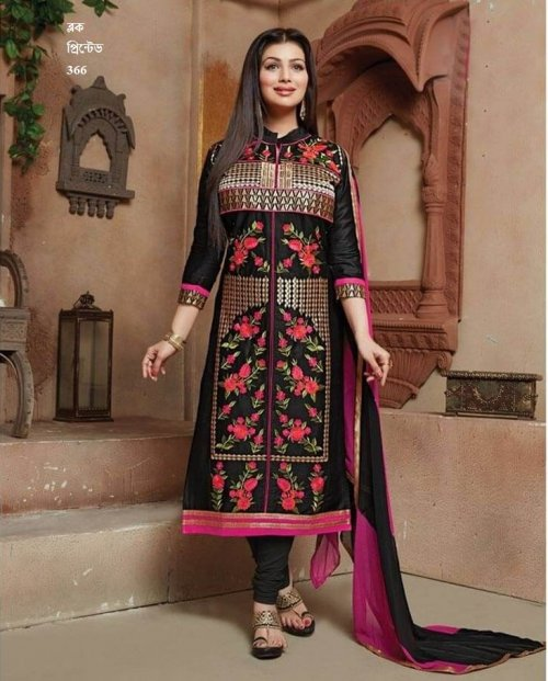 unstiched block printed cotton replica three pcs salwar kameez seblock-366