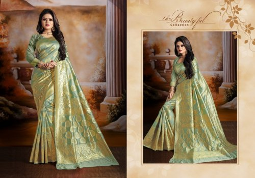 Dark Sea Green and Golden Embroidery Work Katan Saree For Women