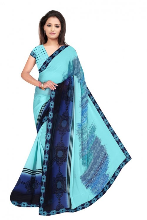 Indian Sky Blue And Dark Blue Silk Printed saree For women