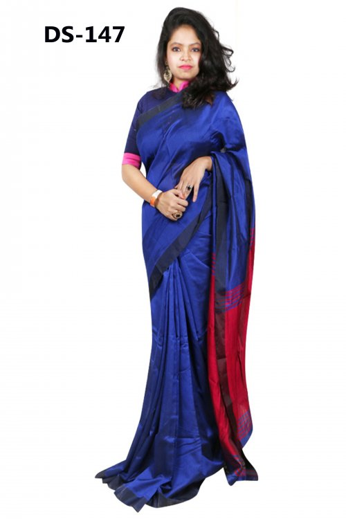 Dark blue Tosor Silk saree with dark red anchol for women eid collection